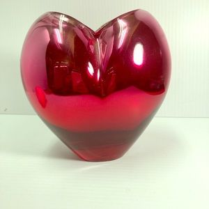 Vintage FTD Red Heart Shaped Beveled Gla